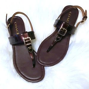 Coach Cassidy Buckle Oxblood T-Strap Sandals
